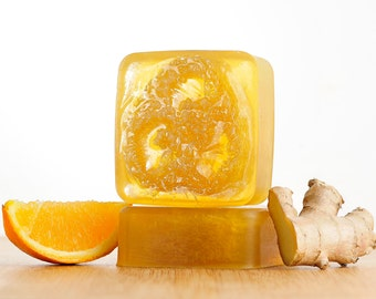Orange Ginger Soap, Ginger Soap, Orange Soap, Handmade Soap, Loofah Soap, Glycerin Soap,Bar Soap