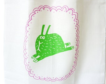 rabbit, linen tea towel, screen printed, printed by hand