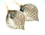 Handmade Calla Gold Bronze Earrings-Opalescent Pearl Earrings-Antique Faced Earrings-Unique Metalwork Earrings-Modern Hammered Earrings