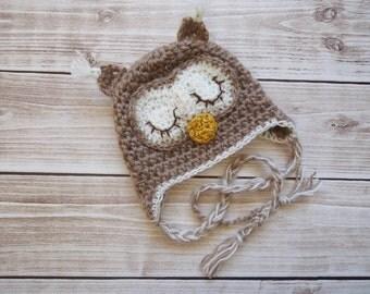 Crochet Owl Hat, Newborn Owl hat, Baby Owl hat, Sleep owl hat