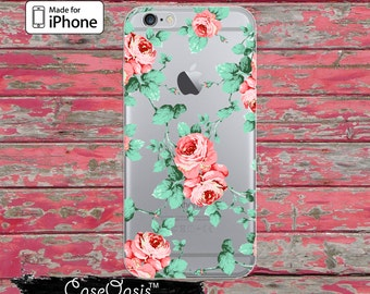 Peony Flower Pattern Pink Floral Cute Tumblr Clear Case iPhone 6 iPhone 6 Plus iPhone 6s iPhone 6s Plus iPhone 5/5s iPhone 5c iPhone 7 Plus