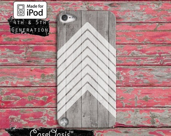 White Chevron Pattern Vintage Wood Grain Tumblr Inspired For iPod Touch 4th Generation or iPod Touch 5th Generation or iPod Touch 6th Gen