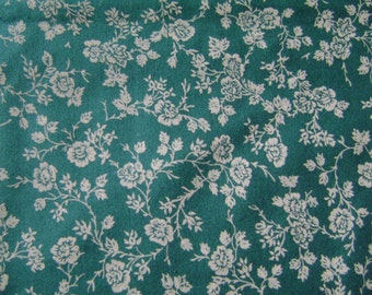 Tan Floral Green Cotton Fabric by the yard