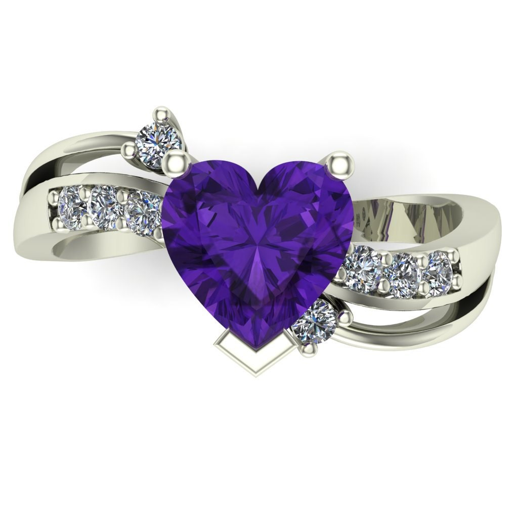 amethyst ring heart with diamonds 14k by charlesbabbdesigns. Black Bedroom Furniture Sets. Home Design Ideas