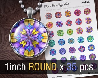 ABSTRACT MANDALA 1 inch x 35 ROUND images, A4 printable circle digital collage sheet, instant download for pendants, bottle caps, scrapbook