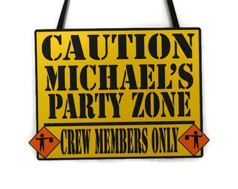 Construction Party Door Sign - Caution Party Zone - Personalized Construction Birthday Party Sign - Custom Birthday Door Sign - Welcome Sign