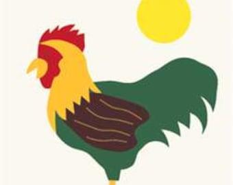 Cock-A-Doodle-Do Handcrafted Applique Garden Flag