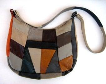 VINTAGE 70s - Beautiful Patchwork Shoulder Bag - Vintage 70s Boho - Genuine Lather - Lovely Condition