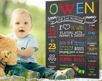 Caterpillar chalkboard sign - First birthday poster -  1st Birthday Photo prop - DIGITAL file!
