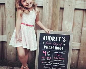 Girls first day of preschool sign - personalized preschool photo prop - pink Chalkboard Sign - DIGITAL FILE!