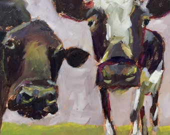 Cow 59 Is she looking at us? small original cow oil painting 6 x 6inch on board