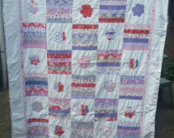 Summer quilt with flowers