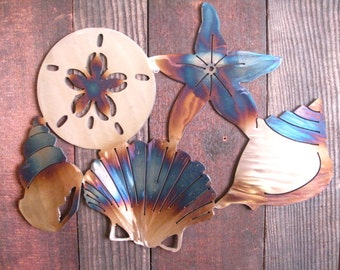 Seashell Metal art, nautical art, beach art, nautical home decor, seaside, sand dollar, starfish