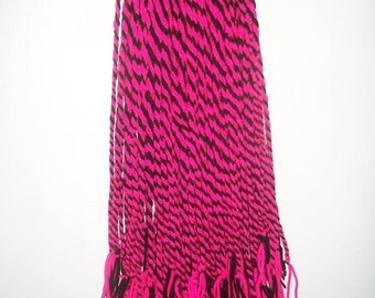 two pink and black cyber goth steampunk alternative hand woven hair falls 100 per hairfall double ended.