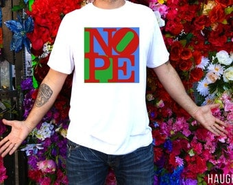 robert indiana NOPE t-shirt - pop art shirt - heartbroken top - parody shirt - nope to love - 1960s - fine art print by HAUGHTEE  FREE ship