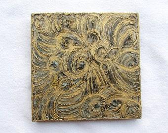 Modern--Abstract--Original Art on Wood Block--Gold,Blue,Gray--Textured Art Wall Decor--Gift for Home.
