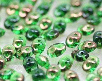 20grams 5x2mm Chrysolite Semi Bronze Luster  - 2-hole SuperDuo Czech Glass Beads