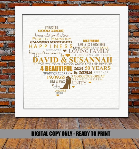 Golden Wedding Anniversary Gift Ideas For Parents: Personalized 50th Anniversary Gift Golden Wedding By