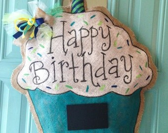 Happy Birthday Cupcake Burlap Door Hanger