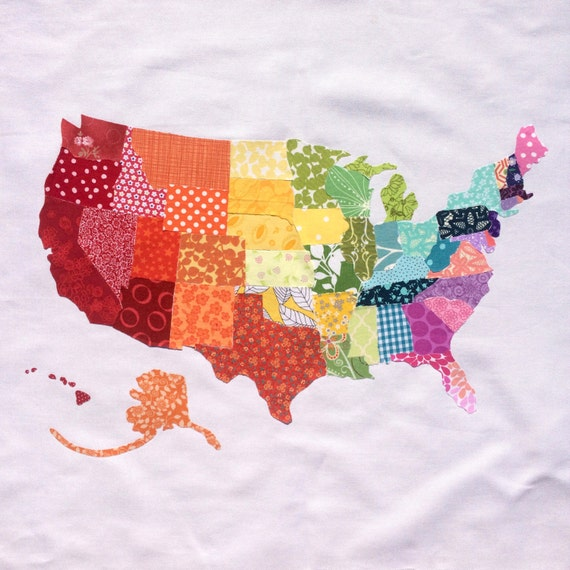 Handmade Rainbow Fabric Scrap Map of The United States // USA // Ready to Ship!
