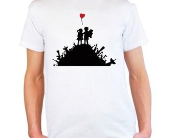 Mens & Womens T-Shirt with Banksy Street Art Graffiti Design /  Warfare Children Playground Shirts / Love Heart Shirt + Free Decal Gift