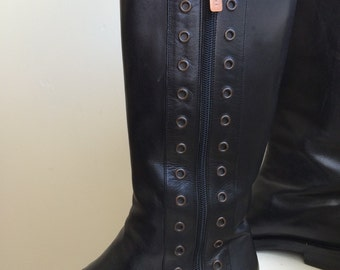 Celine black leather side zip motorcycle boots size 7