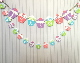 Cupcake banner, Cupcake highchair banner, I am one you can CHOOSE YOUR COLORS, cupcake decorations, tea party, Photography prop