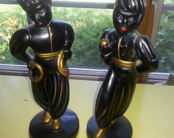 LAST CHANCE SALE!! Vintage Abco Alexander Baker Mid Century 1950s Chalkware Nubian Black and Gold Dancers