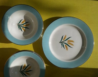 Vintage Set of SIX Blue Rim Wheat International D.S Co Viking Dishes