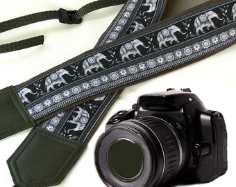 Lucky elephant Camera Strap. Gray DSLR Camera Strap. Camera accessories. Photographer gifts by InTePro