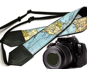Camera Strap with World Map cover. DSLR / SLR Camera Strap. Camera accessories. Photographer gift by InTePro