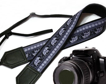 Lucky Elephant camera strap. Ethnic camera strap. DSLR /SLR Camera Strap. Camera accessories by InTePro
