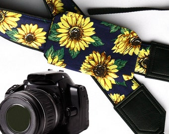 Sunflowers Camera strap with lens pocket.  Flowers camera strap.  DSLR / SLR. Women's fashion accessories by InTePro