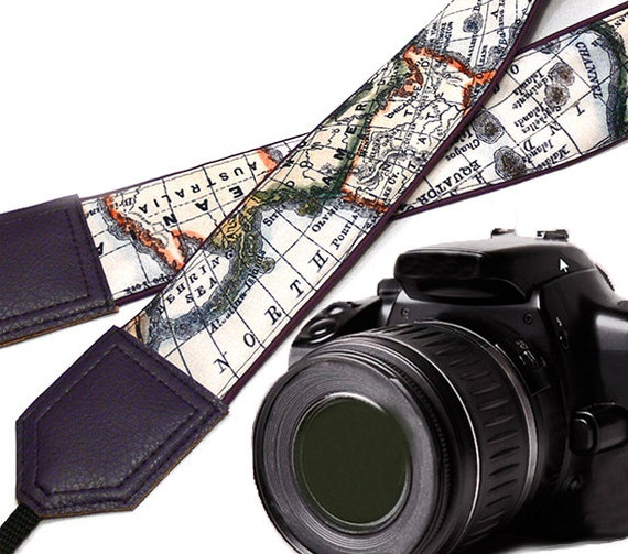 Dark purple DSLR Camera Strap. World Map Camera Strap. Camera accessories. Unique gift. Map. Australia. North America.