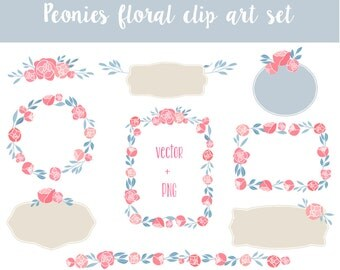 Peonies Wedding Floral clipart, wreath clip art,Floral Frames, Flowers, floral Banners, floral vector, wedding vector, handdrawn wreath