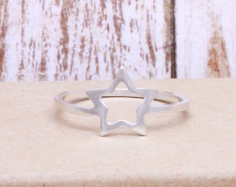 925 stering silver open star band ring