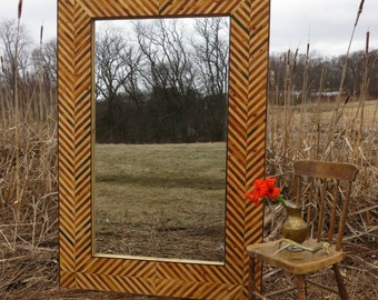 Herringbone Reclaimed Wood Mirror