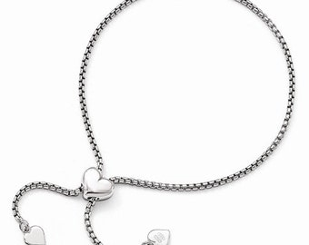 Sterling Silver Round Square Box Heart Layering Wrap Friendship Bracelet Adjustable up to 9 inches CKLQLF660