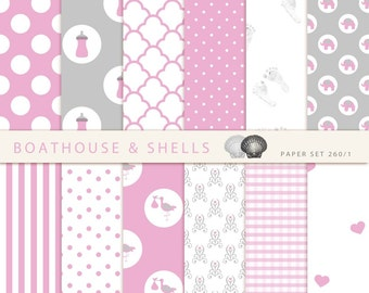 24 BABY GIRL Scrapbooking PAPERS, Scrapbooking digital paper pack in baby girl pink and grey, printable, instant download - 24 papers - 260