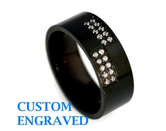 Personalized Black Stainless Steel Ring with CZ - Engraved Black Stainless Steel Ring with Cubic Zirconia - Men Trendy Steel Ring