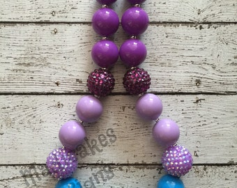 Color Block Blue Light Purple and Dark Purple Chunky Bubblegum Necklace