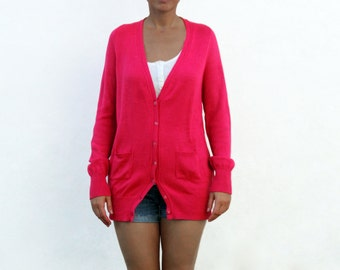 Pink Long Knitted Cotton Cardigan