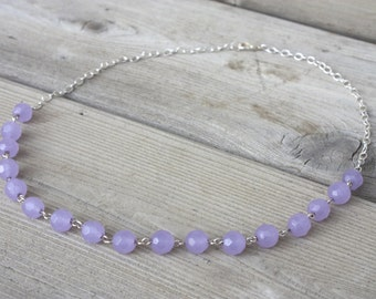 Maya Necklace - Colour Shifting Purple/Blue Amethyst Glass Bead Necklace with Silver Chain