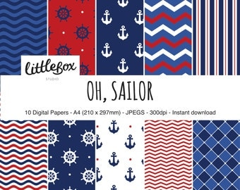 Oh, Sailor! Nautical digital paper pack, instant download