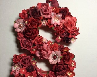 Custom Floral Letter Monogram - Paper Flower Initial in Your Color Choice on Paper Mâché Base