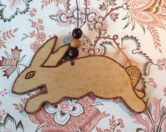 Handmade wooden bunny rabbit, decorated with pyrography, hanging decoration, ornament, home decor, desk decoration, gift.