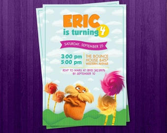 Personalized The Lorax Invitation (digital file)