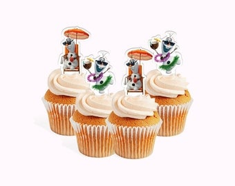 INSTANT DOWNLOAD Girlie Olaf summer party theme cupcake toppers