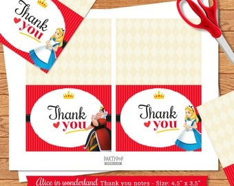 INSTANT DOWNLOAD Red Alice in Wonderland Thank You Notes