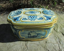 Vintage Delft Dutch Tin Box Ship Sailboat Blue White Gold Hinged Lid Small Dutch Tile Box Storage Nautical